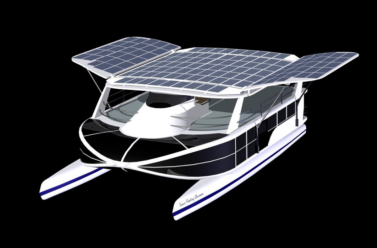 Shuttleworth design 60ft electric solar power catamaran for Solar powered home designs